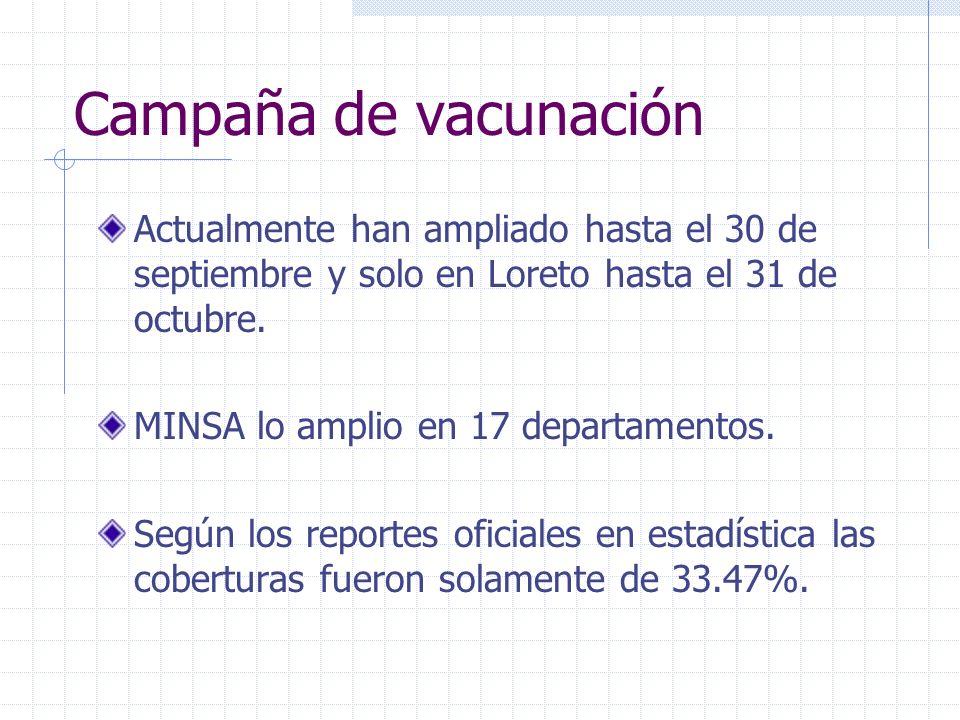 Campaña de vacunación Actualmente han ampliado hasta el 30 de septiembre y solo en Loreto hasta el 31 de octubre.
