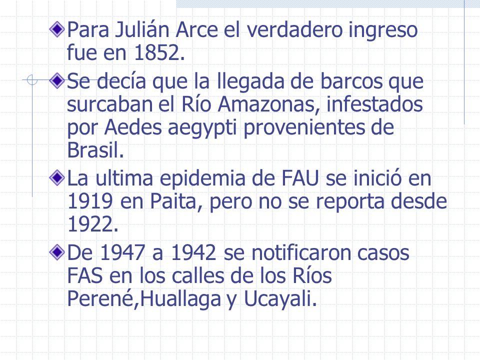 Para Julián Arce el verdadero ingreso fue en 1852.