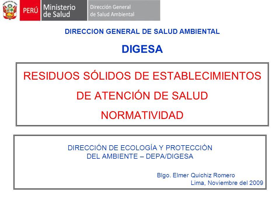 RESIDUOS SÓLIDOS DE ESTABLECIMIENTOS DE ATENCIÓN DE SALUD NORMATIVIDAD