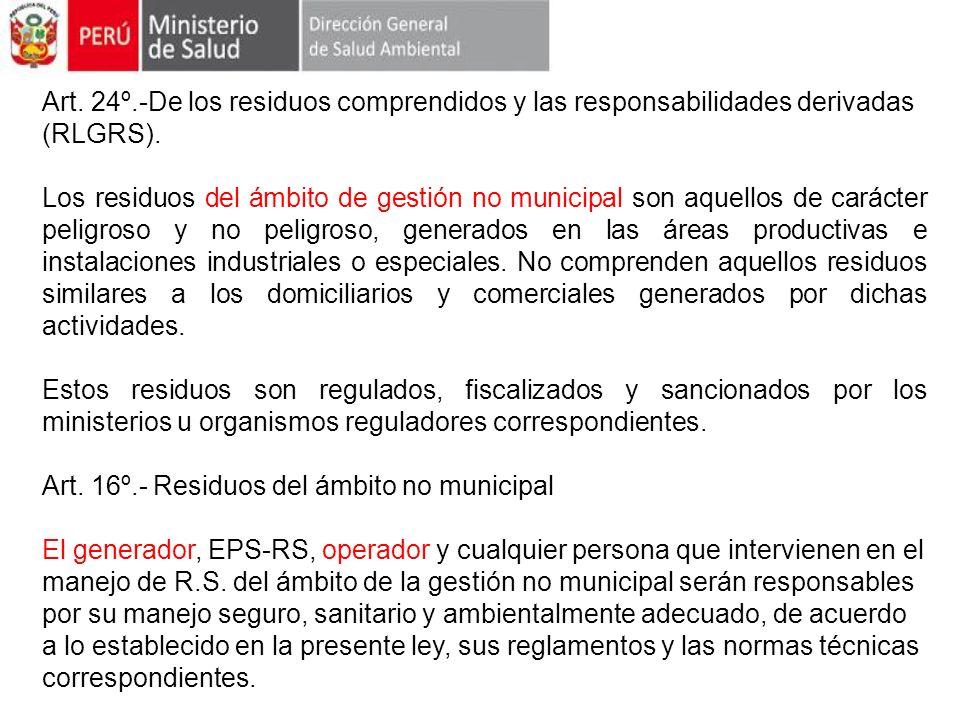 Art. 24º.-De los residuos comprendidos y las responsabilidades derivadas (RLGRS).