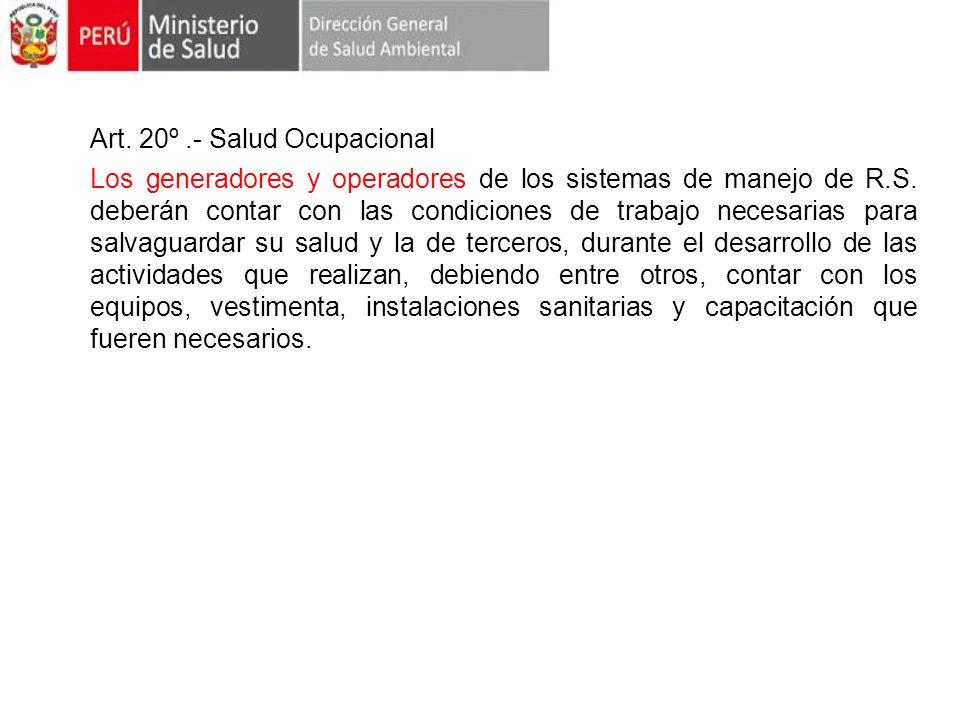 Art. 20º .- Salud Ocupacional
