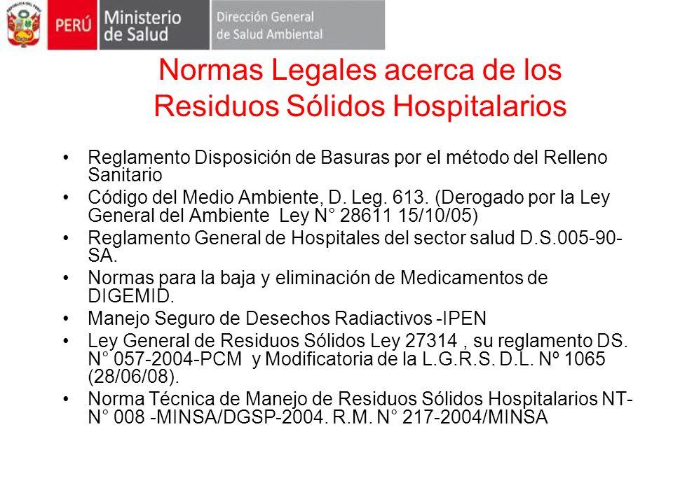 Normas Legales acerca de los Residuos Sólidos Hospitalarios