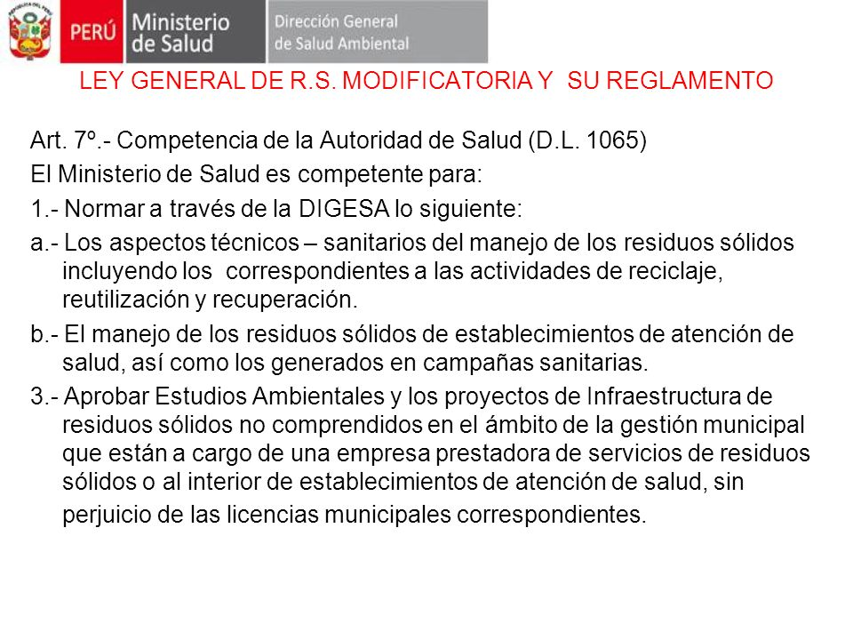 LEY GENERAL DE R.S. MODIFICATORIA Y SU REGLAMENTO