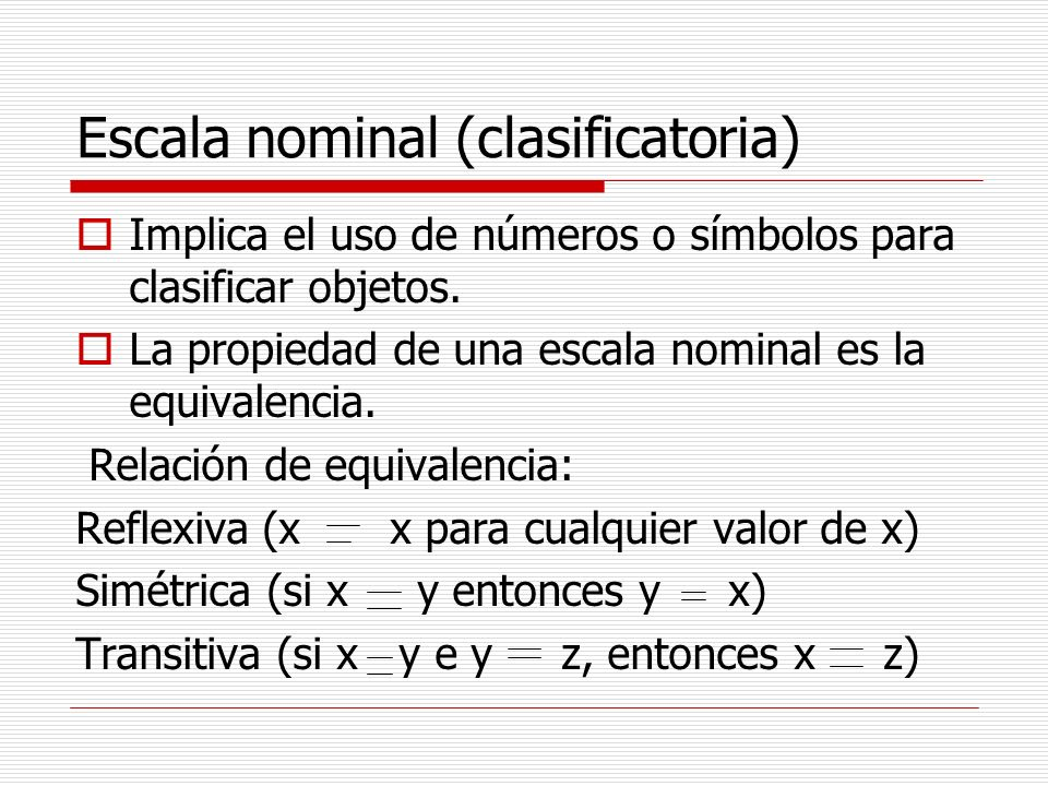 Escala nominal (clasificatoria)