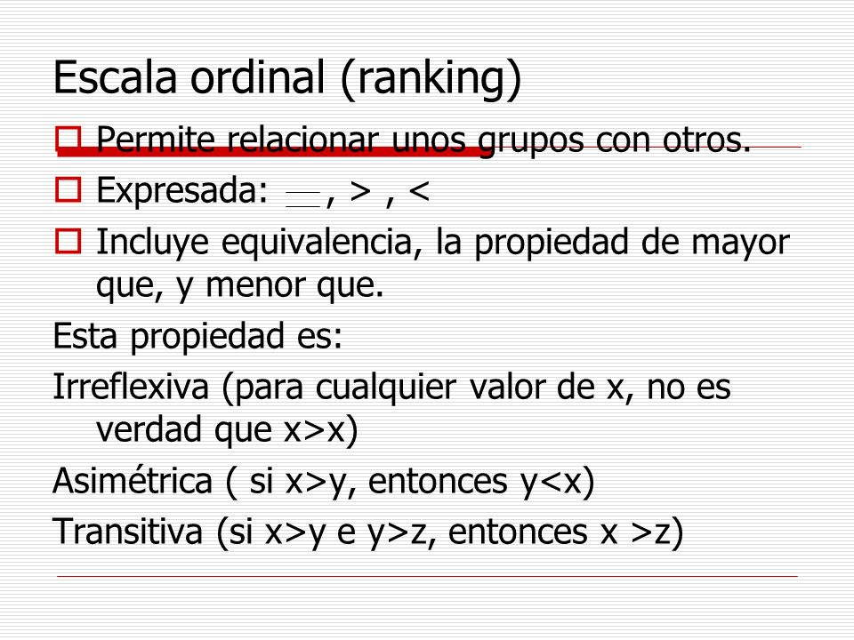 Escala ordinal (ranking)