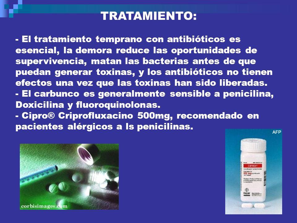 TRATAMIENTO: - El tratamiento temprano con antibióticos es. esencial, la demora reduce las oportunidades de.