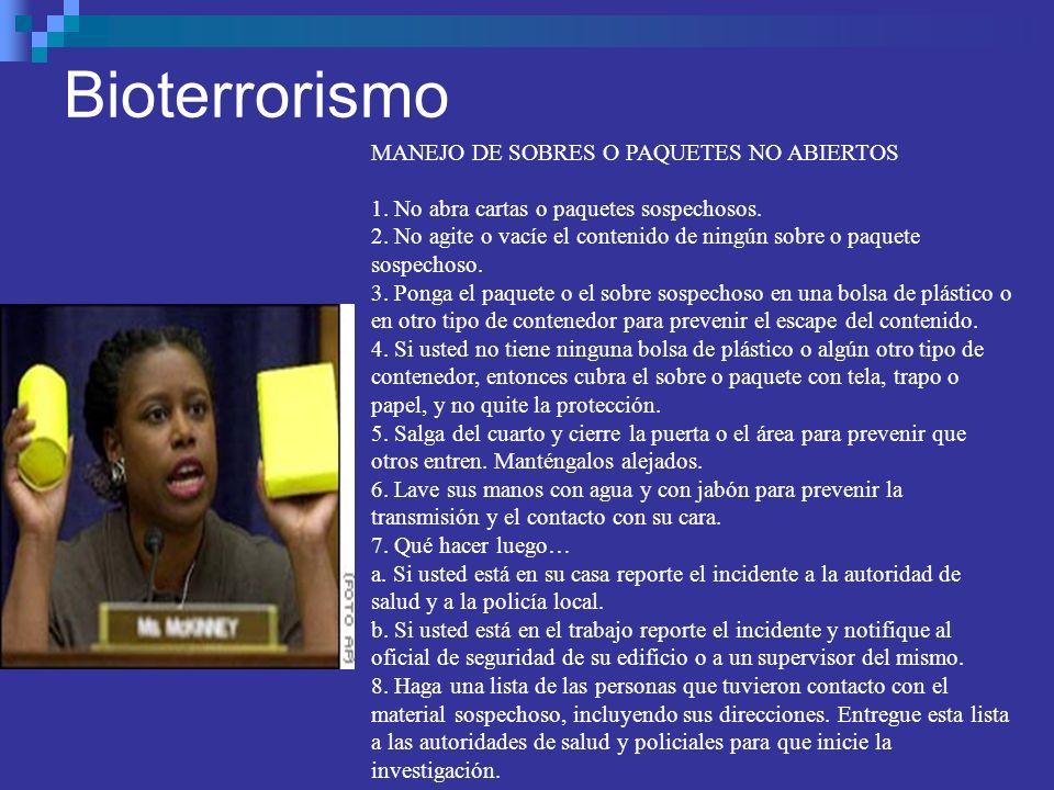 Bioterrorismo MANEJO DE SOBRES O PAQUETES NO ABIERTOS