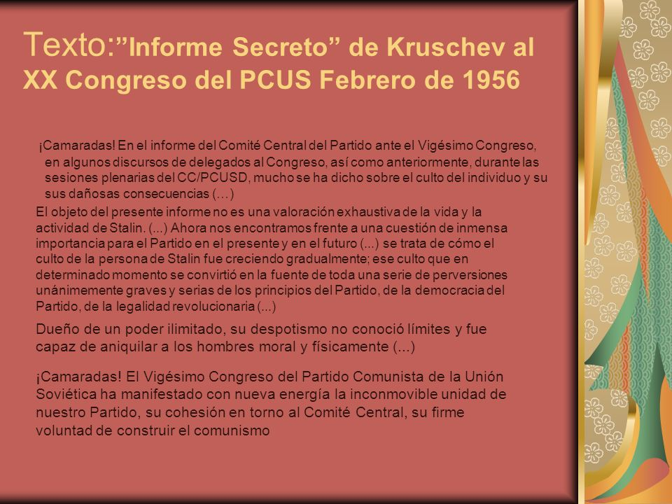 Texto: Informe Secreto de Kruschev al XX Congreso del PCUS Febrero de 1956