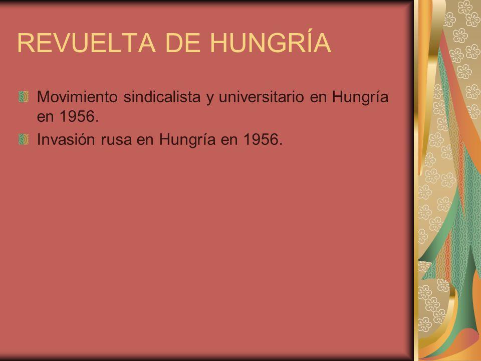 REVUELTA DE HUNGRÍA Movimiento sindicalista y universitario en Hungría en 1956.