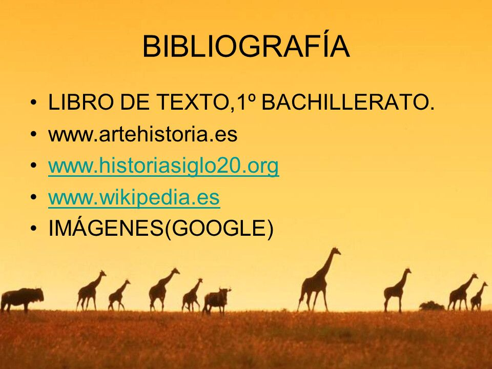 BIBLIOGRAFÍA LIBRO DE TEXTO,1º BACHILLERATO. www.artehistoria.es