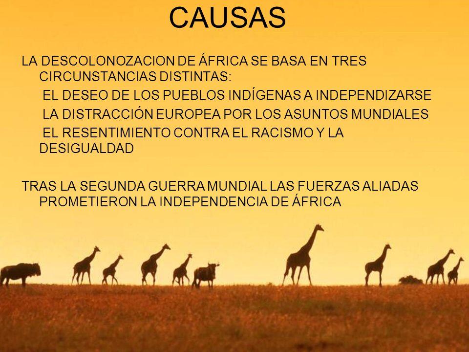 CAUSAS LA DESCOLONOZACION DE ÁFRICA SE BASA EN TRES CIRCUNSTANCIAS DISTINTAS:  EL DESEO DE LOS PUEBLOS INDÍGENAS A INDEPENDIZARSE.