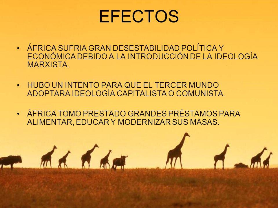 EFECTOS ÁFRICA SUFRIA GRAN DESESTABILIDAD POLÍTICA Y ECONÓMICA DEBIDO A LA INTRODUCCIÓN DE LA IDEOLOGÍA MARXISTA.