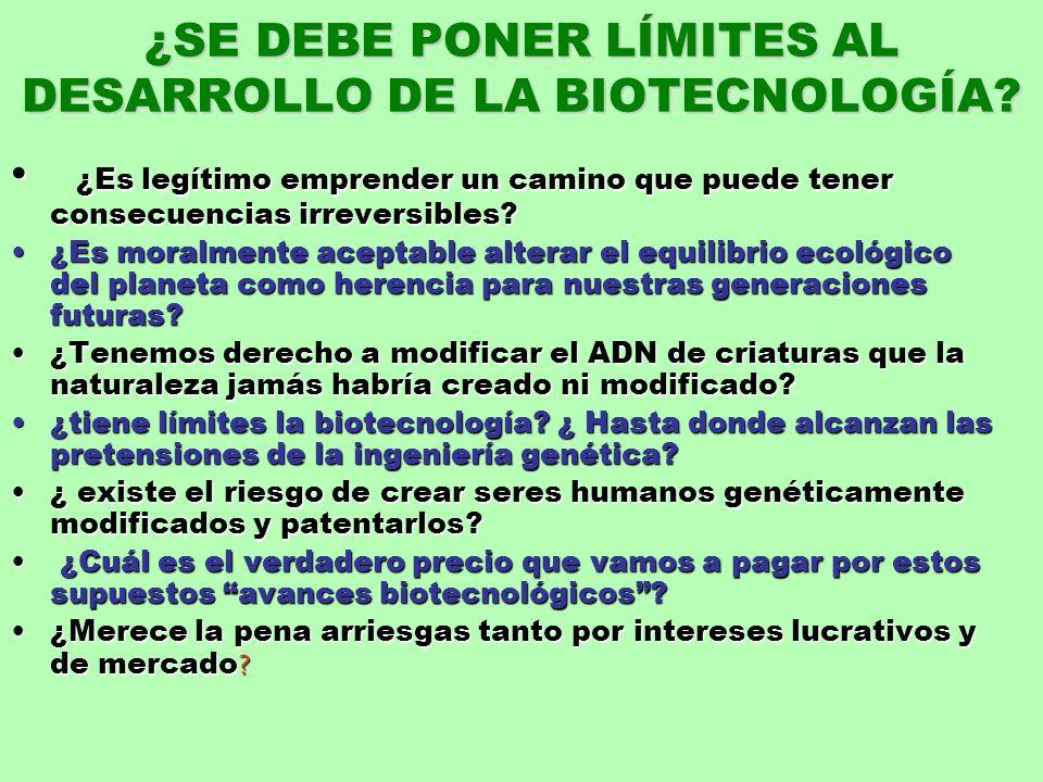 ¿SE DEBE PONER LÍMITES AL DESARROLLO DE LA BIOTECNOLOGÍA
