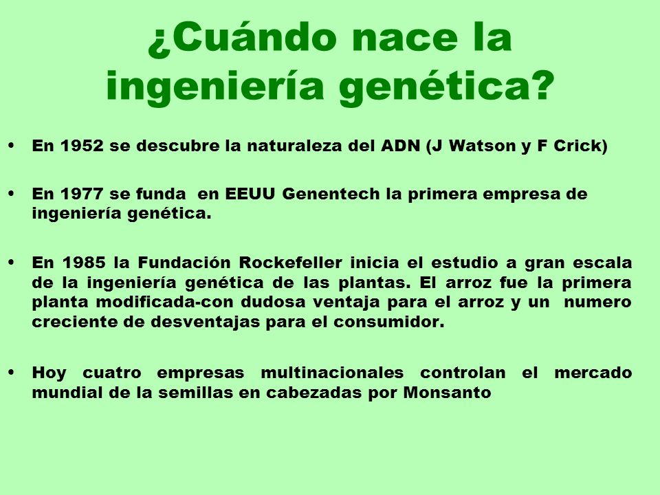 ¿Cuándo nace la ingeniería genética