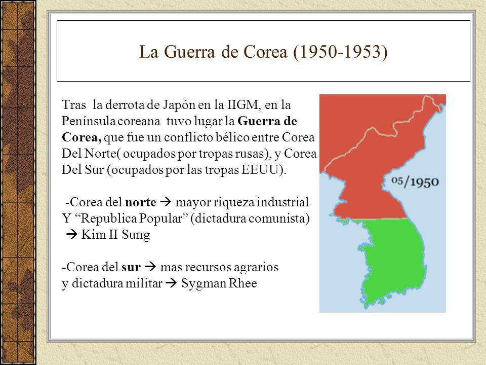 La Guerra de Corea (1950-1953) Tras la derrota de Japón en la IIGM, en la. Península coreana tuvo lugar la Guerra de.