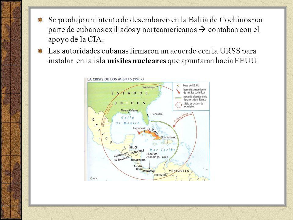 Se produjo un intento de desembarco en la Bahía de Cochinos por parte de cubanos exiliados y norteamericanos  contaban con el apoyo de la CIA.