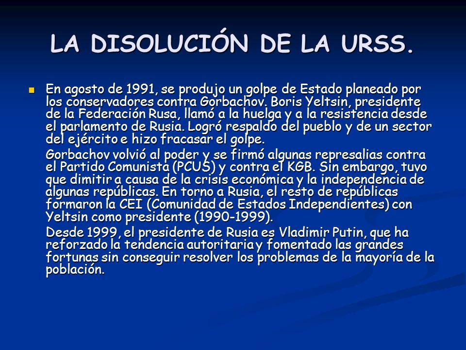 LA DISOLUCIÓN DE LA URSS.