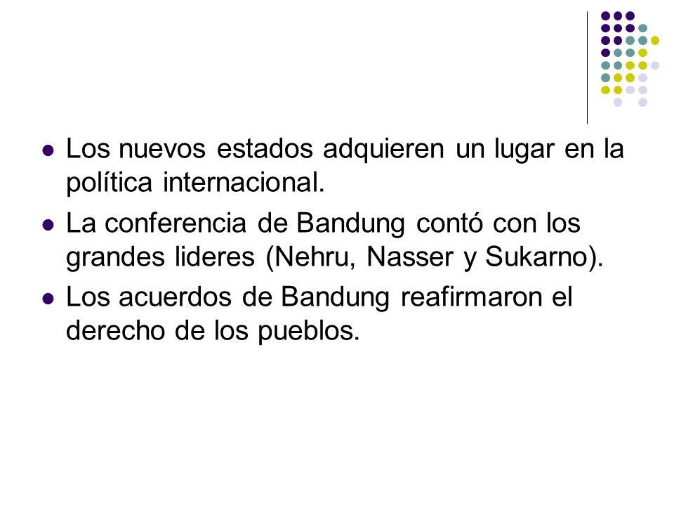 Los nuevos estados adquieren un lugar en la política internacional.