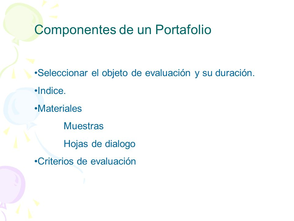 Componentes de un Portafolio