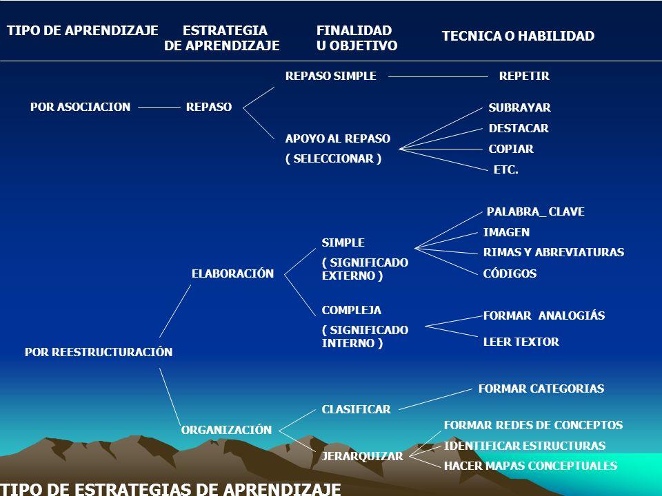TIPO DE ESTRATEGIAS DE APRENDIZAJE