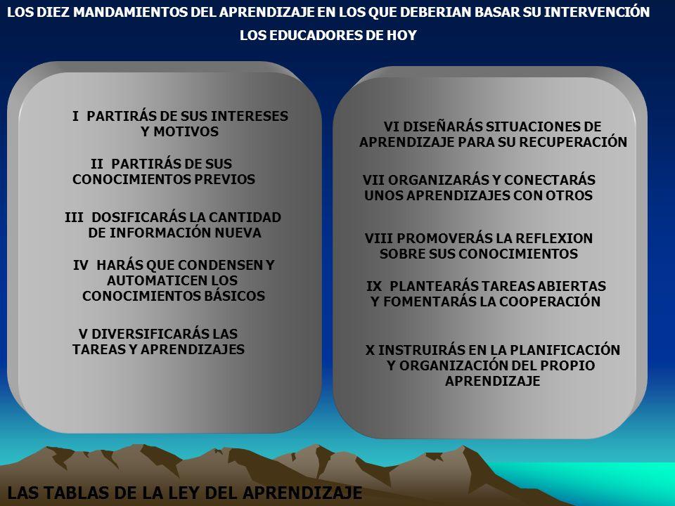 LAS TABLAS DE LA LEY DEL APRENDIZAJE