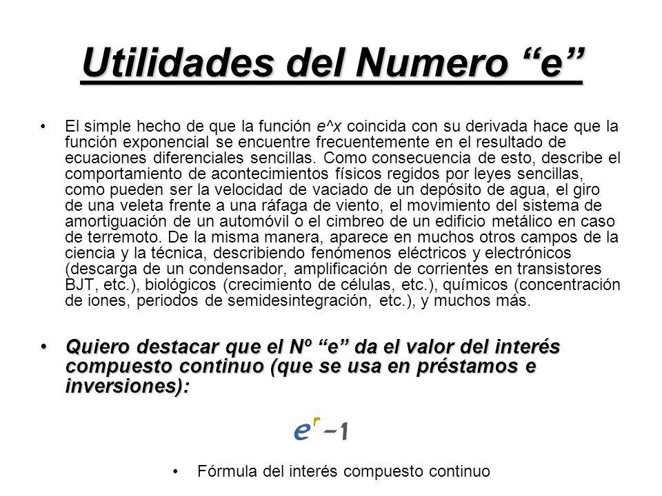 Utilidades del Numero e