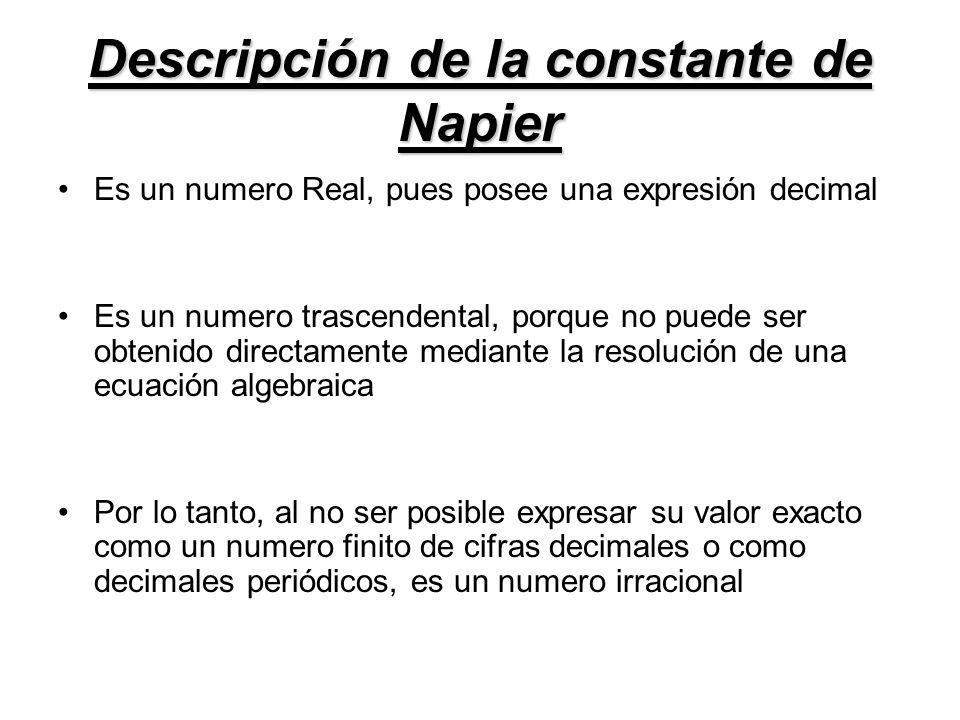 Descripción de la constante de Napier