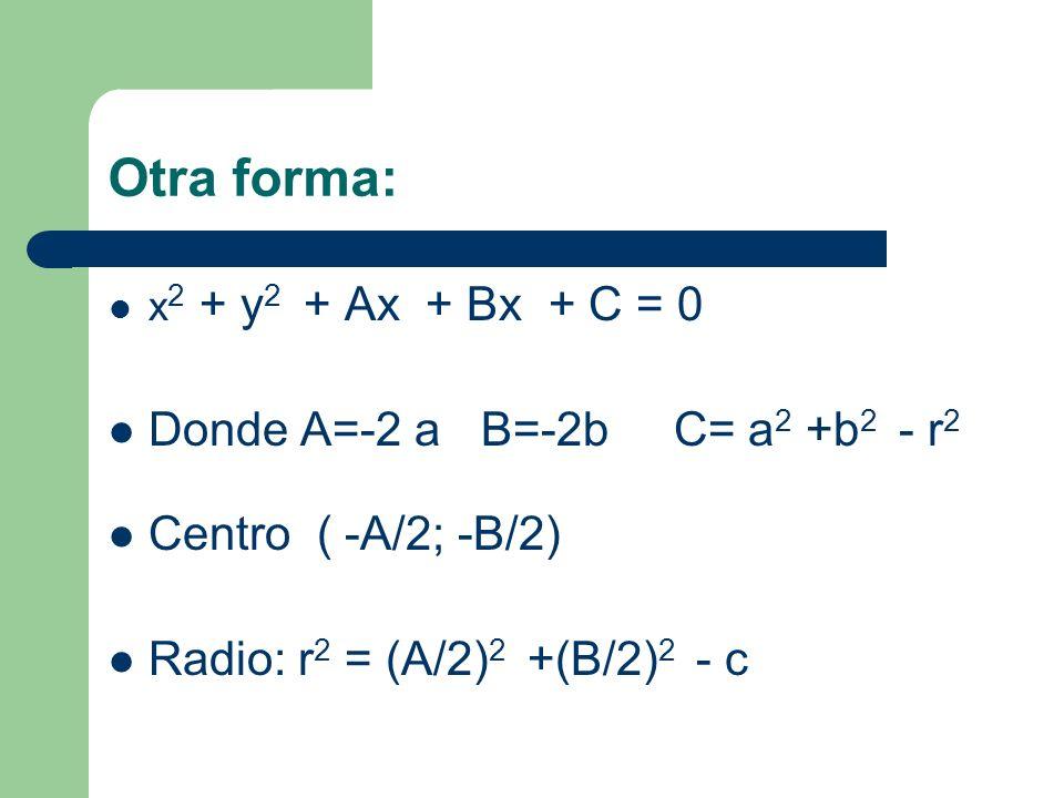 Otra forma: Donde A=-2 a B=-2b C= a2 +b2 - r2 Centro ( -A/2; -B/2)