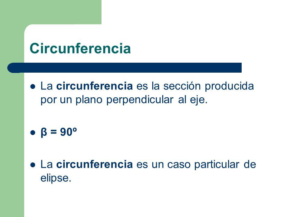 Circunferencia La circunferencia es la sección producida por un plano perpendicular al eje. β = 90º.