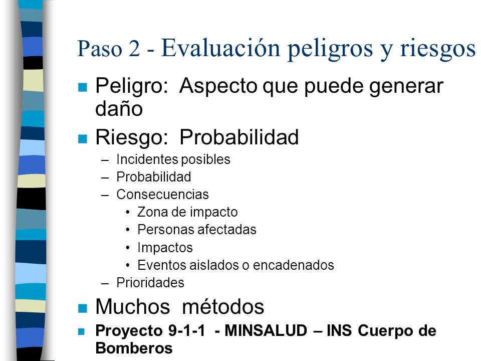 Paso 2 - Evaluación peligros y riesgos