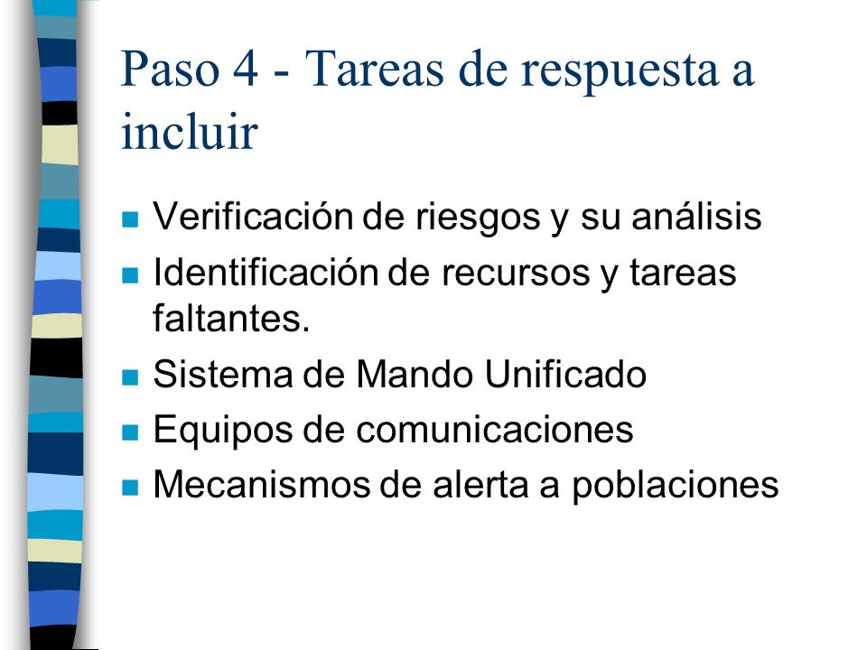 Paso 4 - Tareas de respuesta a incluir