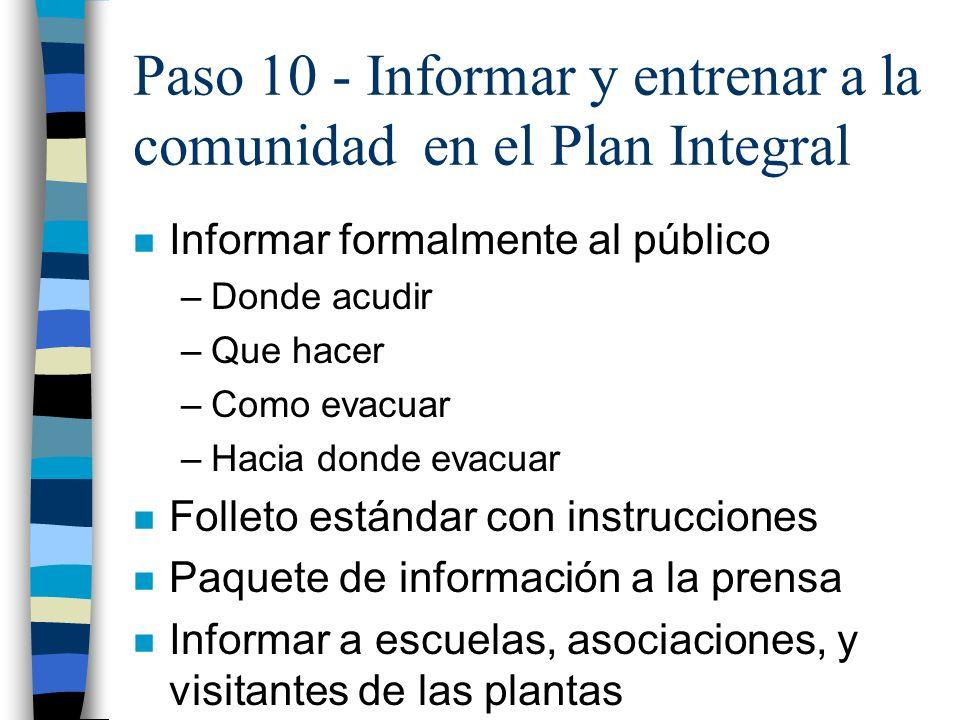 Paso 10 - Informar y entrenar a la comunidad en el Plan Integral
