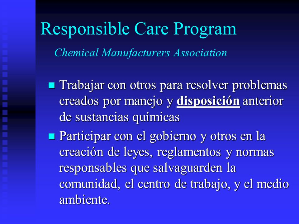 Responsible Care Program Chemical Manufacturers Association
