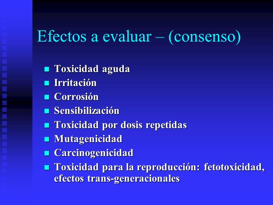 Efectos a evaluar – (consenso)
