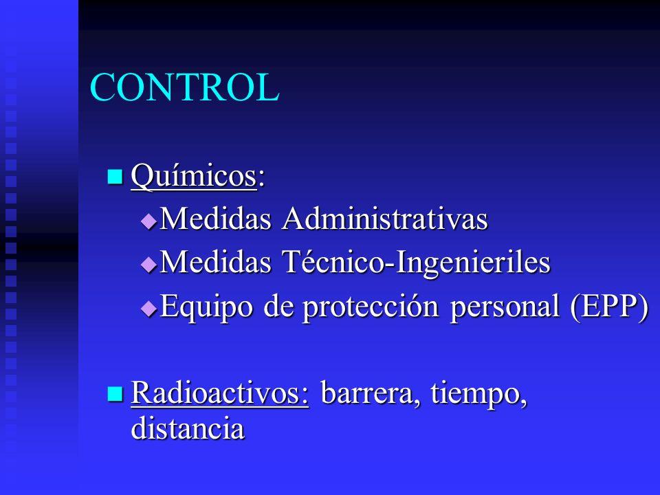 CONTROL Químicos: Medidas Administrativas Medidas Técnico-Ingenieriles