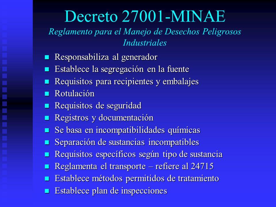Decreto 27001-MINAE Reglamento para el Manejo de Desechos Peligrosos Industriales