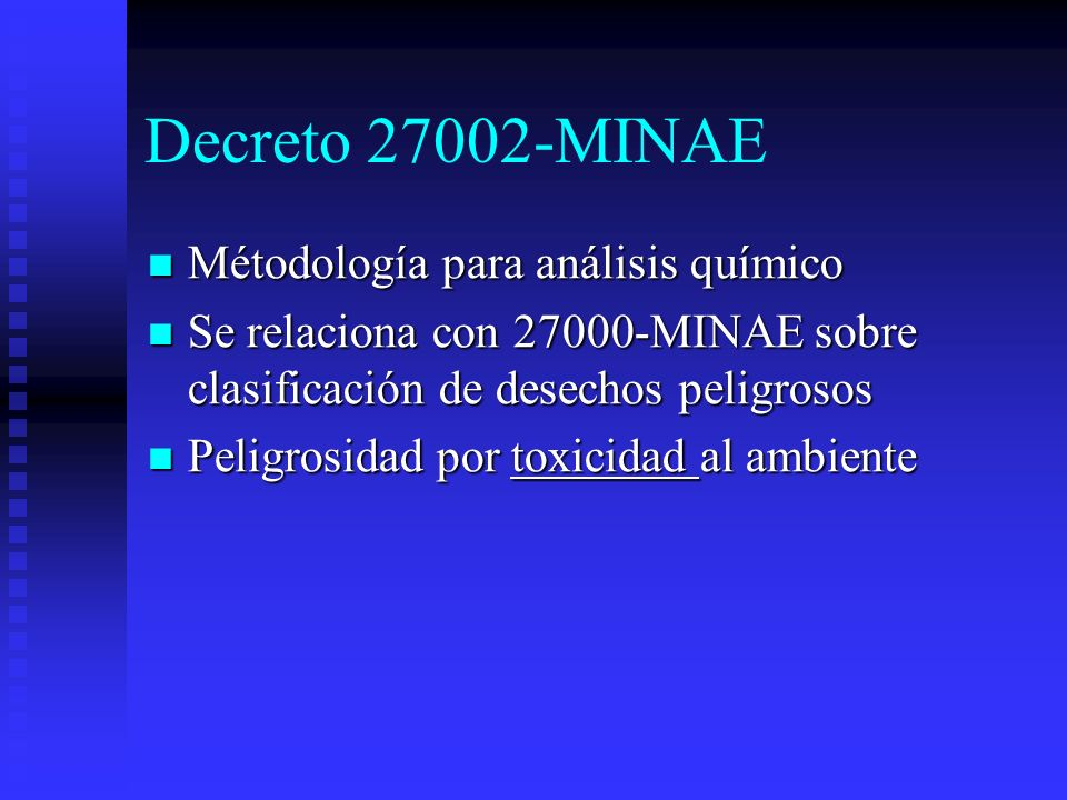 Decreto 27002-MINAE Métodología para análisis químico