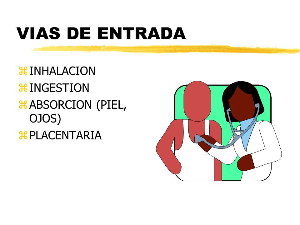 VIAS DE ENTRADA INHALACION INGESTION ABSORCION (PIEL, OJOS)