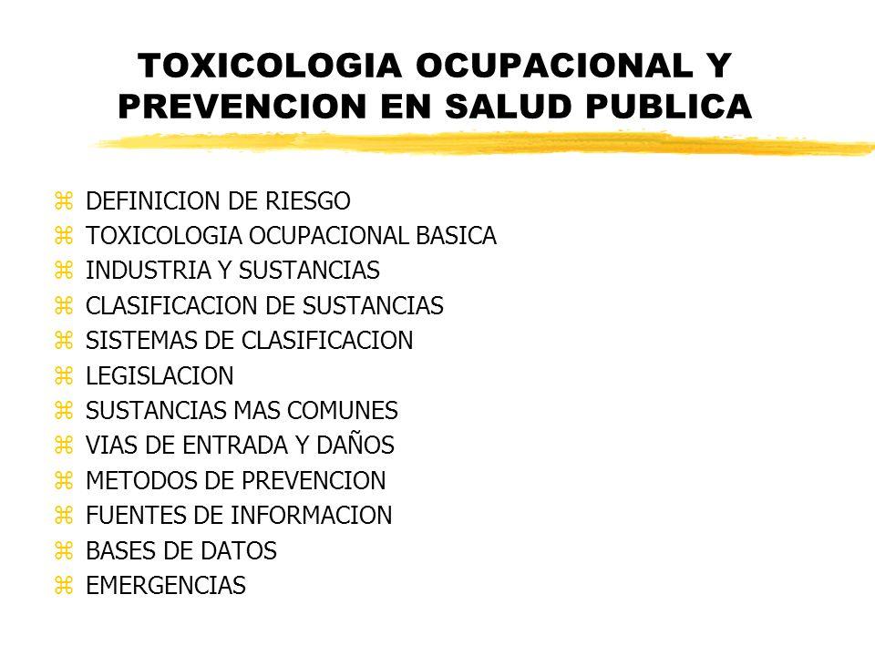 TOXICOLOGIA OCUPACIONAL Y PREVENCION EN SALUD PUBLICA