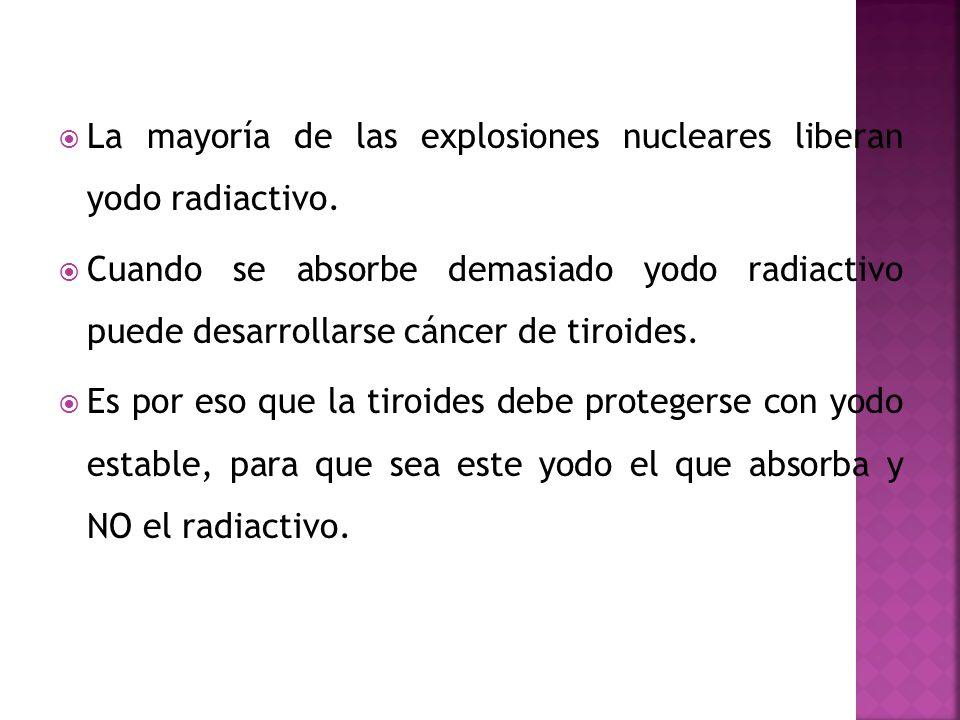 La mayoría de las explosiones nucleares liberan yodo radiactivo.