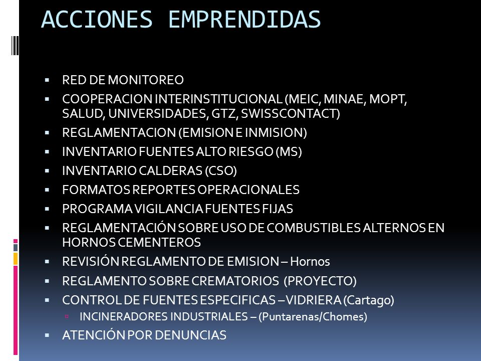 ACCIONES EMPRENDIDAS RED DE MONITOREO