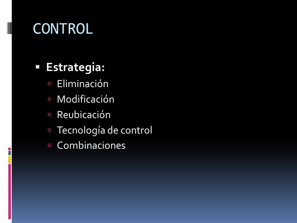 CONTROL Estrategia: Eliminación Modificación Reubicación