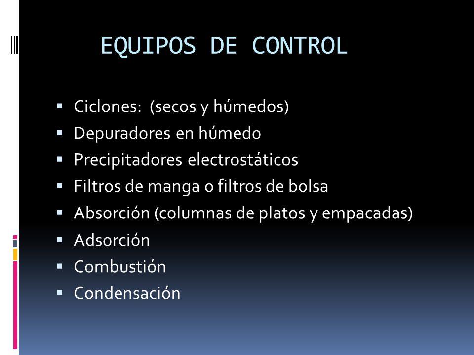 EQUIPOS DE CONTROL Ciclones: (secos y húmedos) Depuradores en húmedo