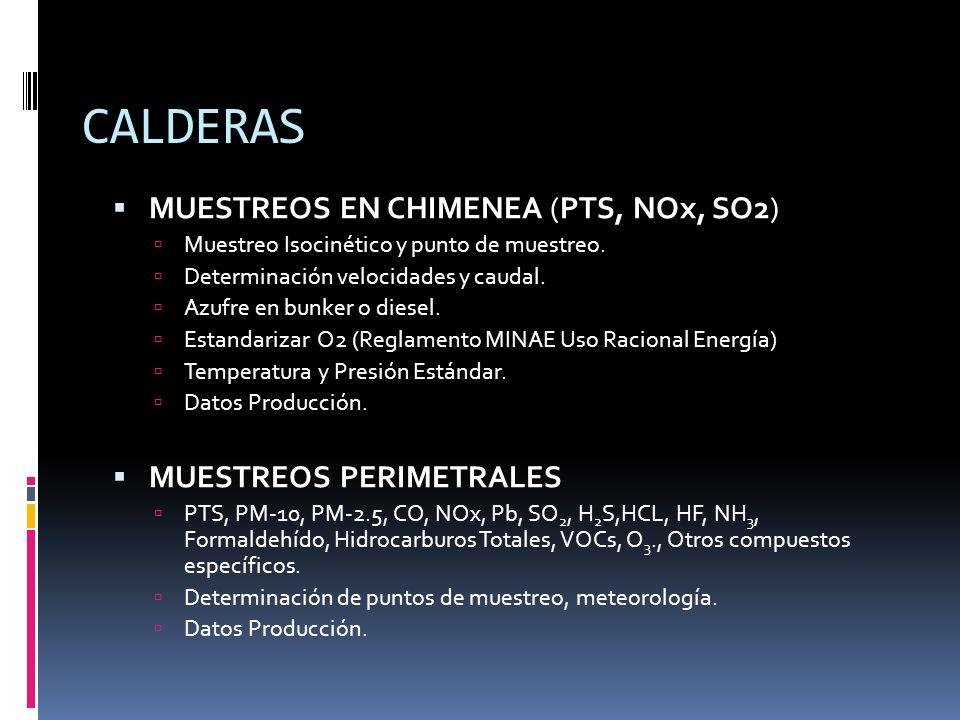 CALDERAS MUESTREOS EN CHIMENEA (PTS, NOx, SO2) MUESTREOS PERIMETRALES