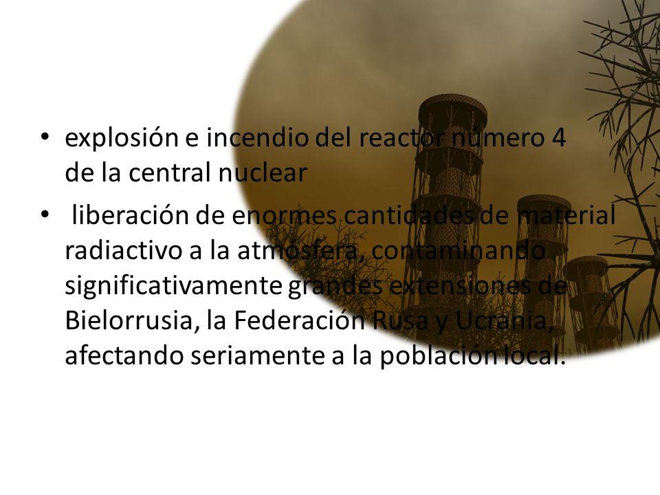 explosión e incendio del reactor número 4 de la central nuclear
