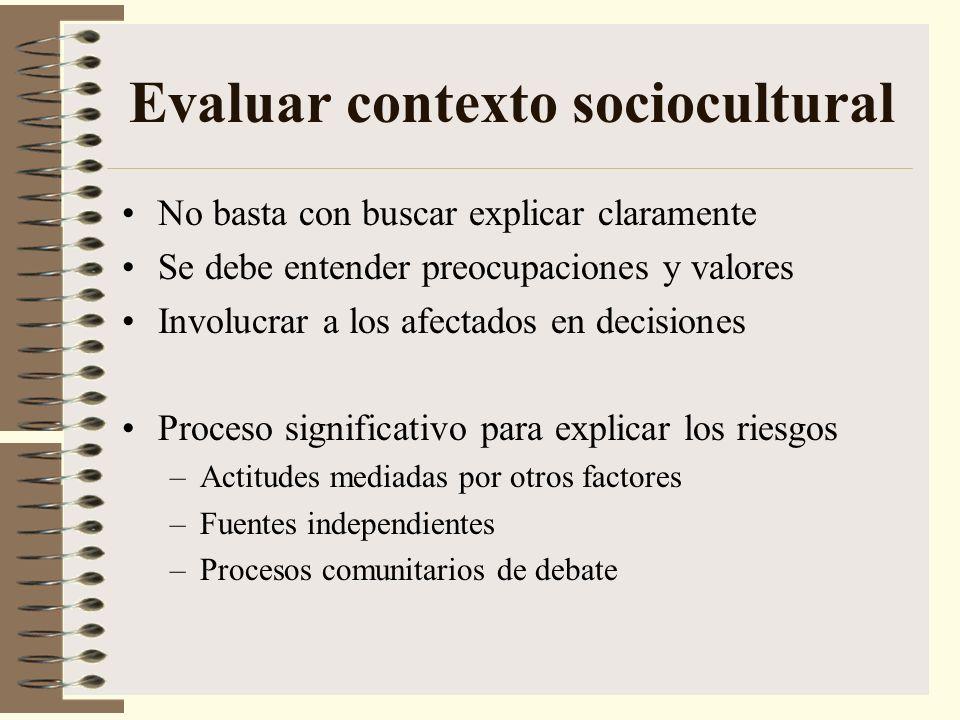 Evaluar contexto sociocultural