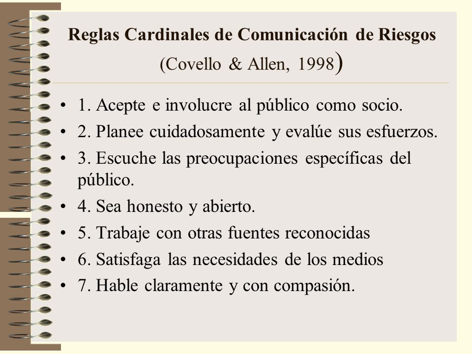 Reglas Cardinales de Comunicación de Riesgos (Covello & Allen, 1998)