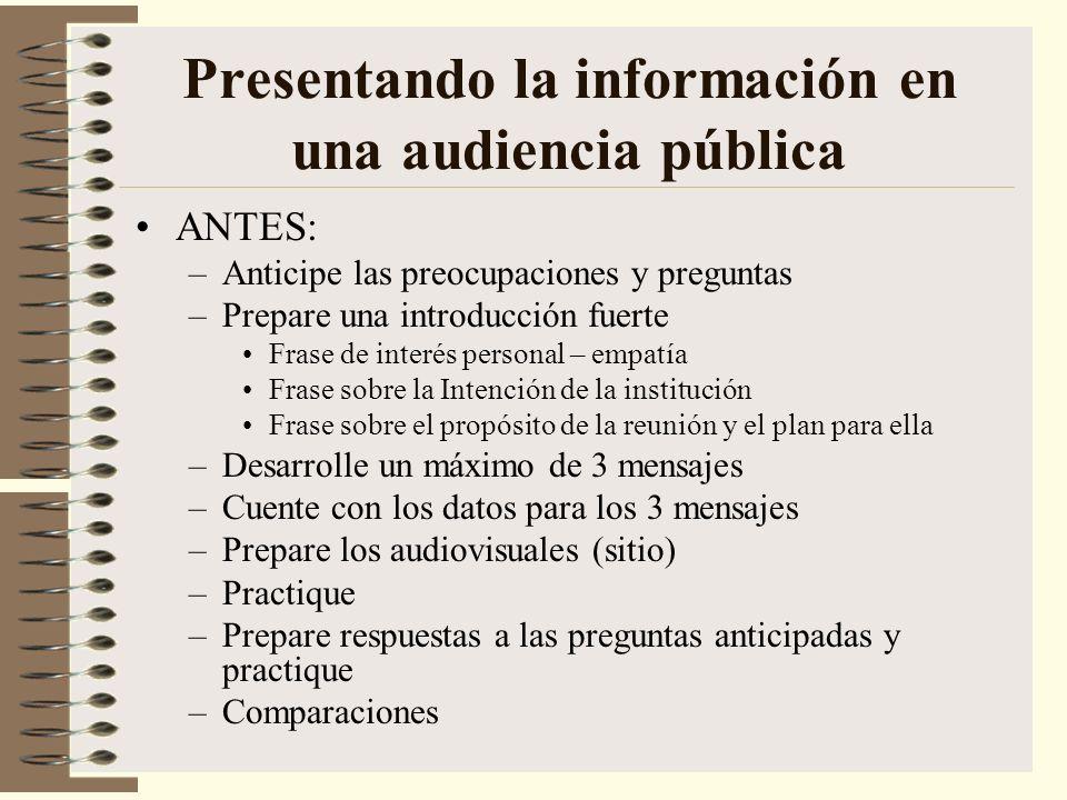 Presentando la información en una audiencia pública