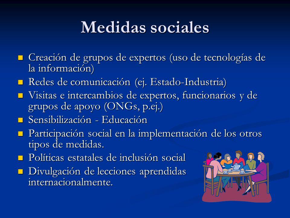 Medidas sociales Creación de grupos de expertos (uso de tecnologías de la información) Redes de comunicación (ej. Estado-Industria)