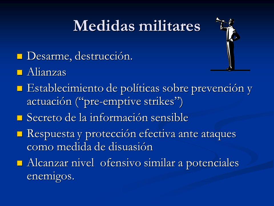 Medidas militares Desarme, destrucción. Alianzas